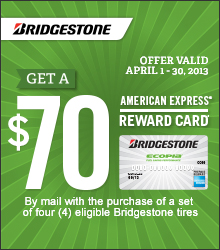 Bridgestone Tires, Bridgestone Rebate, Bridgestone Promotion